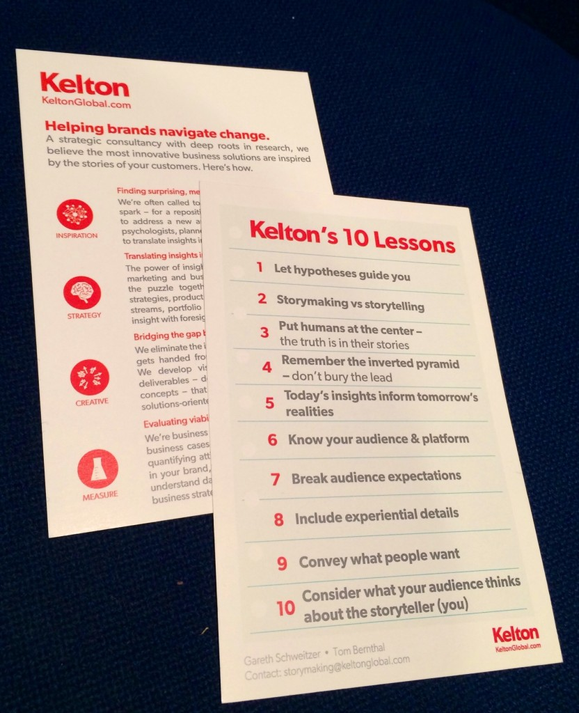 Kelton 10 Lessons of Storymaking TMRE Conference 2014 Researchers Brand Strategy Market Research Storytelling
